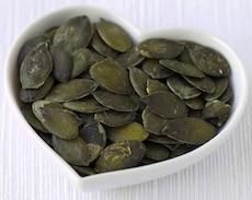 heart bowl of pumpkin seeds