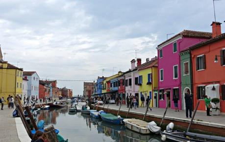 canal of Burano with brightly colored houses