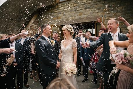 confetti photo at a blackwell grange wedding