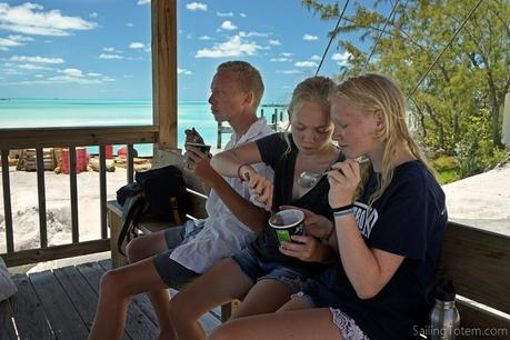 Celebrating Siobhan's birthday in Staniel Cay this week, with ice cream at the dock
