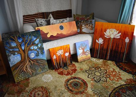 Sold artwork by Cedar Lee, being prepared for shipment