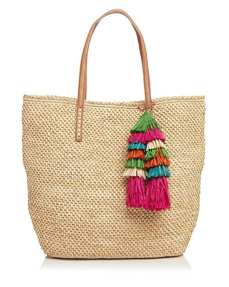 straw tote with colored tassel ornament