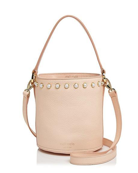 leather bucket bag with faux pearl studs