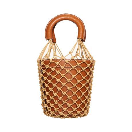 leather bucket bag with netting