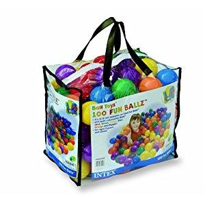 Image: Intex 100 pcs Fun Ballz - 6 assorted colors (red, green, blue, yellow, orange, and purple)