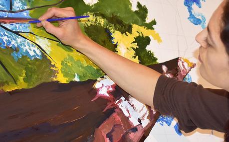 Cedar Lee forest painting work in progress