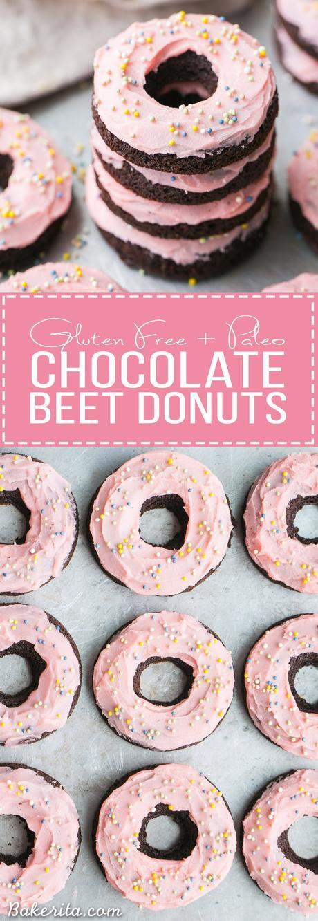 These Chocolate Beet Donuts are incredibly moist and chocolatey, with a naturally pink-tinted beet frosting on top! These gluten-free, paleo and dairy-free donuts make the perfect indulgent breakfast, snack, or dessert.
