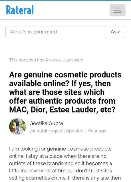 Rateral- Question-Answer community for online shopping lovers: Review