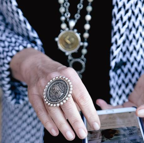 French Kande silver ring with vintage French medallion, a favorite of style blogger Susan B. of une femme d'un certain age