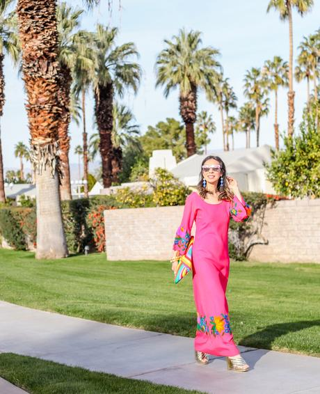 Pink Embroidered Dress in Palm Springs