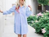 Blue White Striped Shirt Dress