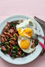 Fried Eggs with Butter-Fried Kale and Pork