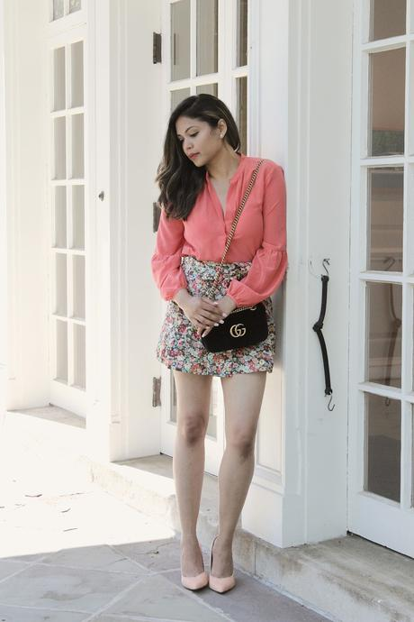 how to wear high waist shorts, floral shorts, j crew shorts, waist tie pants, orange, peach , pumps, street style. gucci marmont velvet bag, ootd, saumya, myriad musings