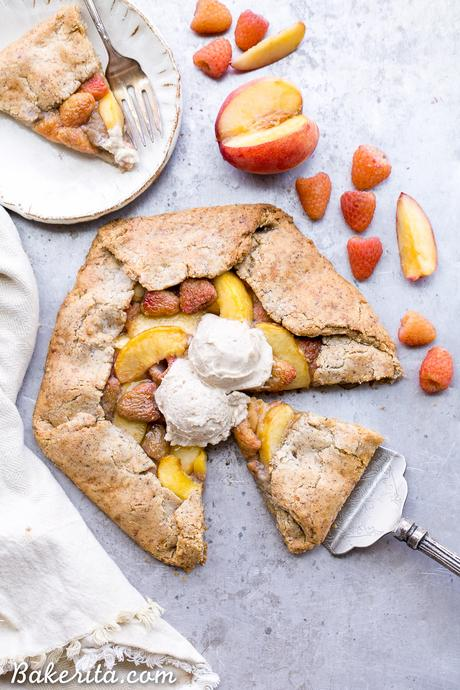 This Peach Raspberry Galette highlights two of summer's best fruits. The fresh peaches and raspberries are tucked into the flakiest paleo and vegan pie crust I've ever had!
