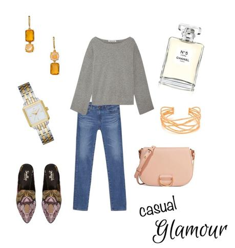 a casual outfit gets the glamour treatment with a pink bag and gold accessories - details at une femme d'un certain age