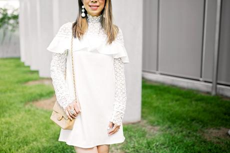 Luxe for Less // SheIn White Ruffle Lace Dress Review