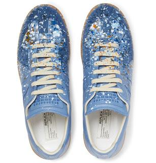 Stir Crazy Blues:  Maison Martin Margiela Replica Paint-Splattered Suede and Leather Sneakers