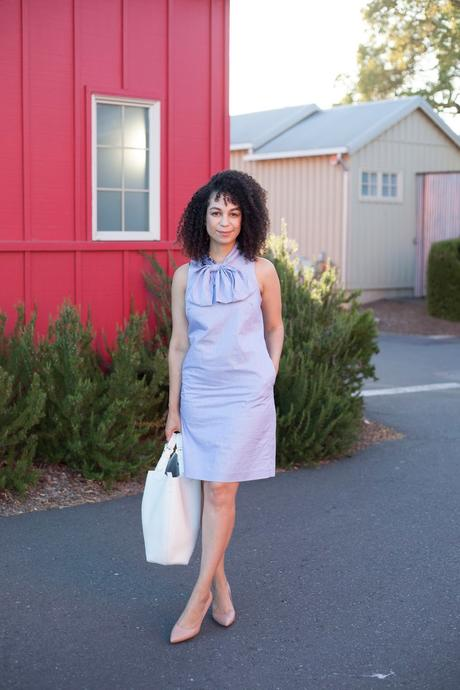 What to Wear to Work: The Stripe Bow-Neck Dress