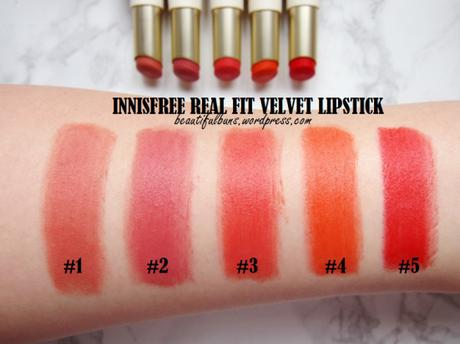 Review/Swatches: Innisfree Real Fit Velvet Lipstick – all 10 shades