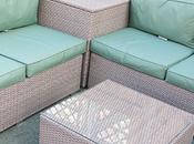 Corner Rattan Sofa with Cushion Storage