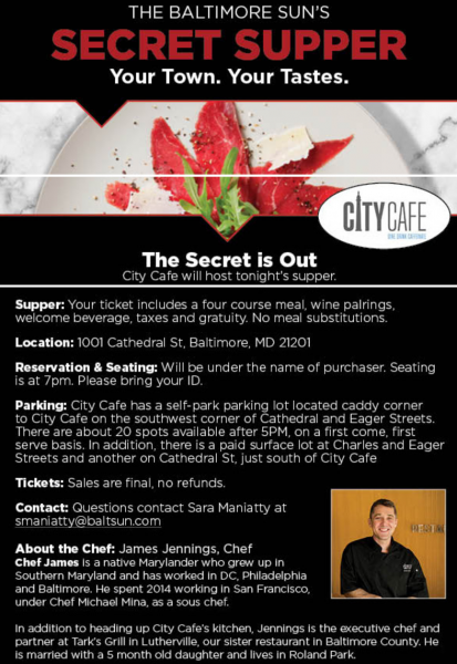 The Baltimore Sun's Secret Supper at City Cafe