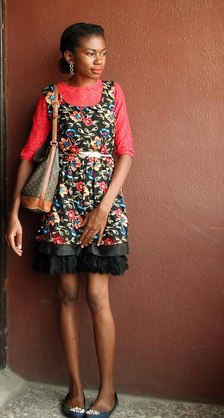 red lace dress layered underneath black lace dress
