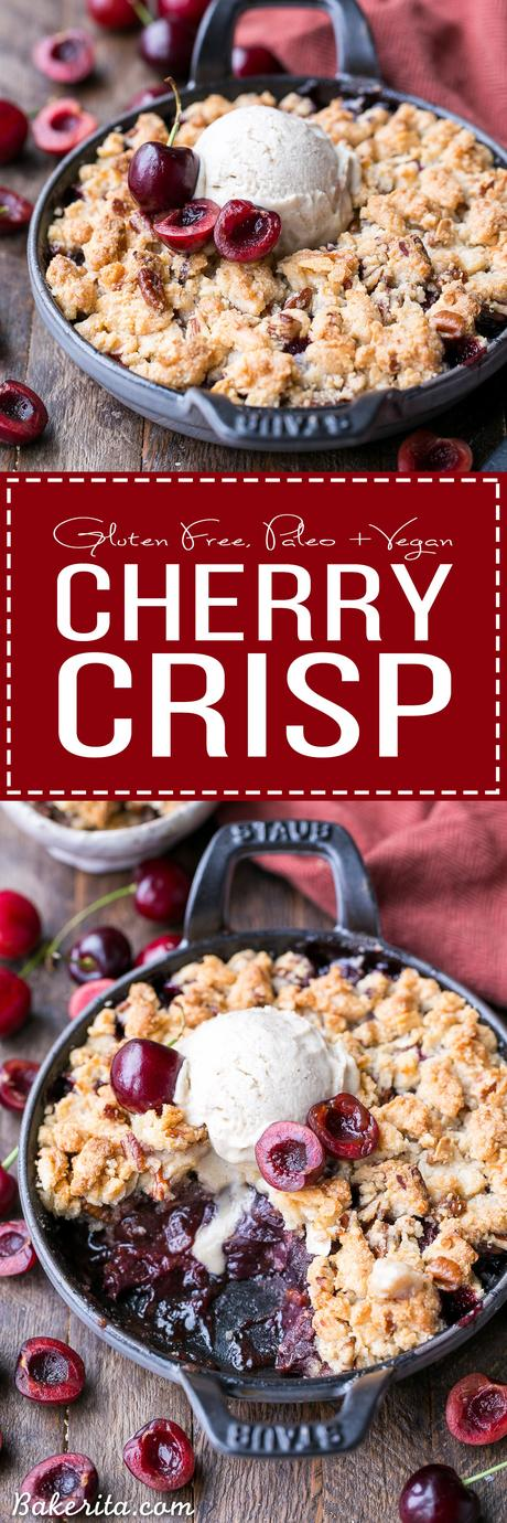 This Cherry Crisp has an irresistible grain-free crumble topping that will have your spoon diving in for more! It's a sweet and flavorful gluten-free, paleo, and vegan dessert that can be enjoyed all year round.