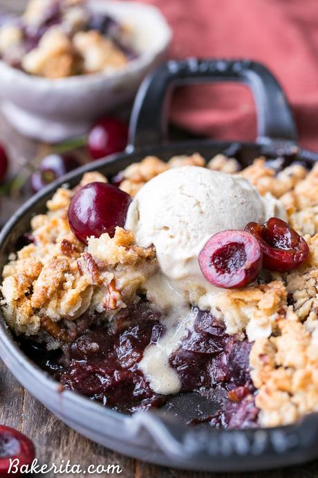 This Cherry Crisp has an irresistible grain-free crumble topping that will have your spoon diving in for more! It's a gluten-free, paleo, and vegan dessert that can be enjoyed all year round.