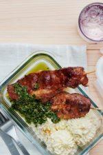 Pork Skewers with Cauli Mash and Salsa Verde