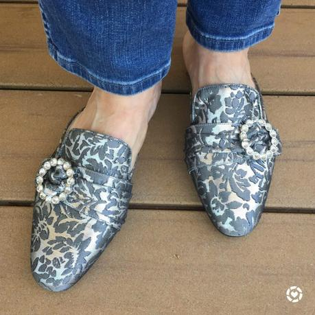 details: style blogger Susan B. of une femme d'un certain age wears brocade mules with rhinestone accents from Brown's Couture
