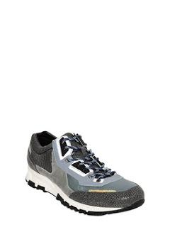 Running Deluxe:  Lanvin Suede and Grained Leather Running Sneakers