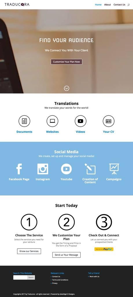 Social Media Translation company WordPress website