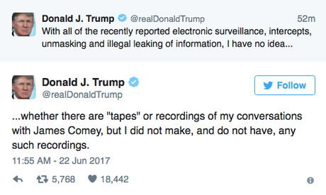 Trump Says There Are NO Tapes Of His Talk With Comey