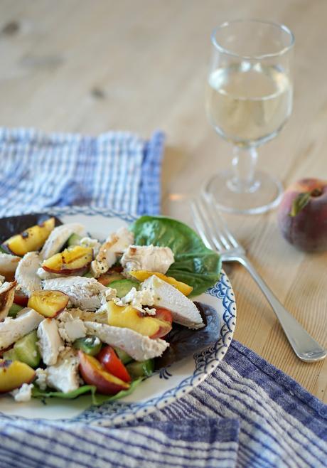 Warm chicken, feta and grilled peach salad