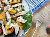 Warm Chicken, Feta Grilled Peach Salad