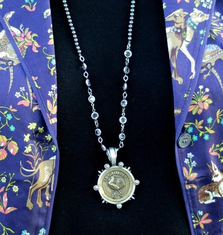 details: Susan B. of une femme d'un certain age wearing a French Kande vintage medallion necklace with Swarovski crystals