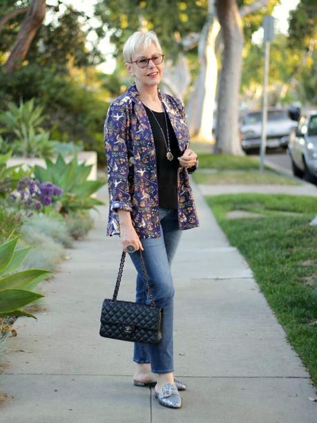 style blogger Susan B. wears a printed silk pajama top as a jacket