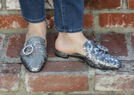 style blogger Susan B. wears silver brocade mules with rhinestone accents