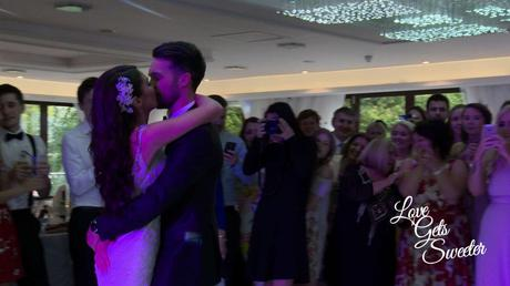 first dance on the sparkly dancefloor with pink lighting at armathwaite hall