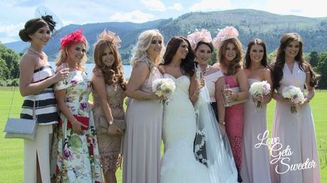 Bride hanging out with her besties and best friends in front of Bassenthwaite Lake