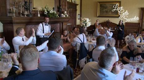 the groom did his wedding speech in front of the grand fire place at armathwaite hall
