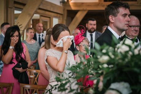 bridesmaid crying at mythe barn