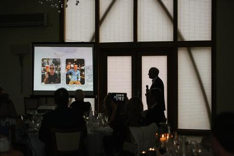 father of the bride at mythe barn giving a speech