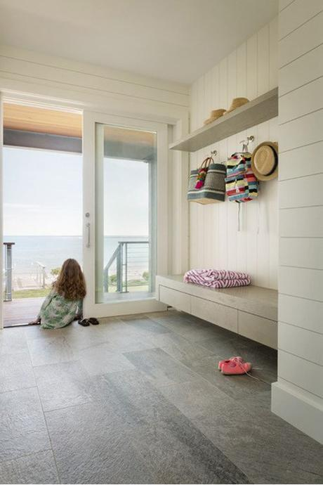 Mudroom WIth Grey Tile And A View In Kennebunkport