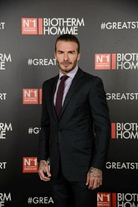 David Beckham in Madrid for new Biotherm Homme Aquapower