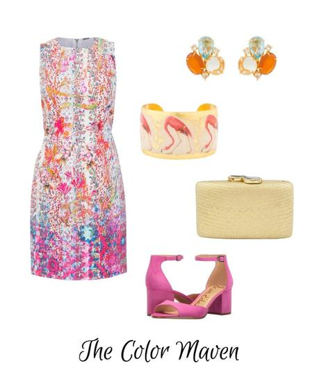 Style blogger Susan B. of une femme d'un certain age imagines a wedding guest outfit for a Color Maven.