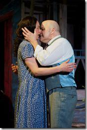 from right, James Tyrone, Jr (Steve Pickering) wrestles his demons with Josie Hogan (Carolyn Klein) in Seanachaí Theatre Company's production of A MOON FOR THE MISBEGOTTEN by Eugene O'Neill, directed by Kevin Theis at The Irish American Heritage Center. Photograph courtesy of Jackie Jasperson.