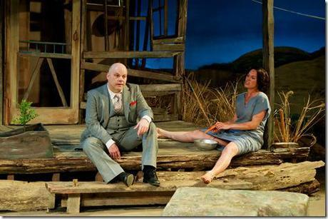 from left, James Tyrone, Jr (Steve Pickering) takes time out from the big city to porch-sit with Josie Hogan (Carolyn Klein) in Seanachaí Theatre Company's production of A MOON FOR THE MISBEGOTTEN by Eugene O'Neill, directed by Kevin Theis at The Irish American Heritage Center. Opens Saturday, March 24th; closes Sunday April 29th, 2012. For tickets and more information visit www.seanachai.org or call (866) 811-4111. Photograph courtesy of Jackie Jasperson.