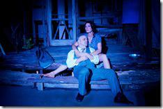 : Josie Hogan (Carolyn Klein) and James Tyrone, Jr (Steve Pickering) take solace in the moonlight in Seanachaí Theatre Company's production of A MOON FOR THE MISBEGOTTEN by Eugene O'Neill, directed by Kevin Theis at The Irish American Heritage Center.