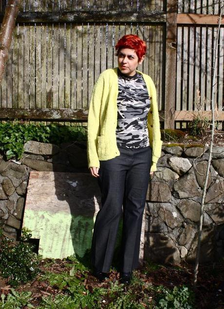 outfit post: 100% Thrifted (Neon + Camo)